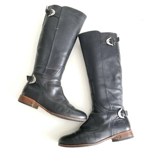 UGG Australia Amberlee Riding Boots Black Leather